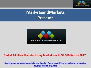Global Additive Manufacturing Market worth $3.5 Billion