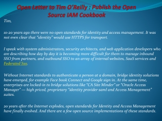 Open Letter to Tim O'Reilly : Publish the Open Source IAM Co