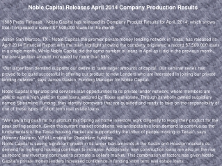 Noble Capital Releases April 2014 Company Production Results