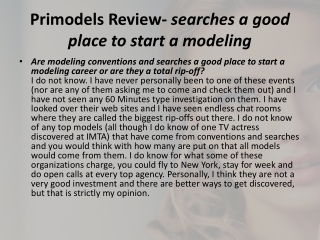 Primodels Review- searches a good place to start a modeling