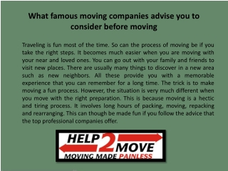 What famous moving companies advise you to consider before m