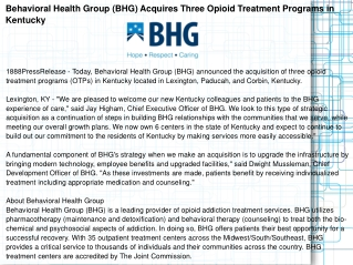 Behavioral Health Group (BHG) Acquires Three Opioid