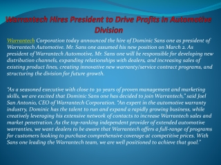 Warrantech Hires President to Drive Profits in Automotive Di