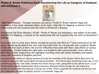 Phyllis R. Brown Publishes Book Documenting Her Life