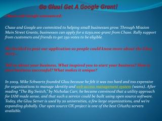 Go Gluu! Get A Google Grant!