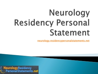 Neurology Residency Personal Statement