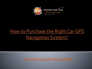 How to Purchase the Right Car GPS Navigation System