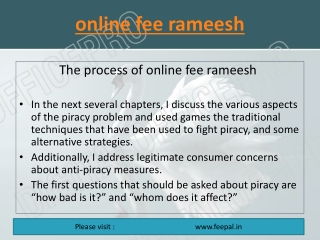 Some fundamental of  online fee rameesh