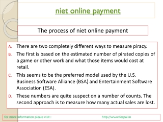 some more details about niet online payment