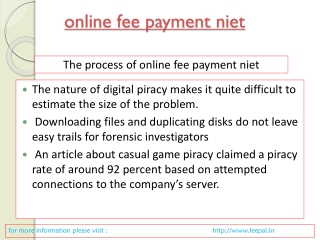 some more details about online fee payment niet