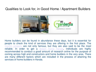 Qualities to Look for, in Good Home or Apartment Builders