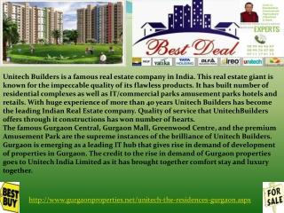 Unitech The Residences Uniworld Resorts Gurgaon