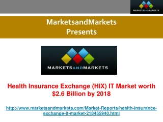Health Insurance Exchange (HIX) IT Market worth $2.6 Billion by 2018