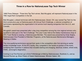 Three in a Row for NationaLease Top Tech Winner