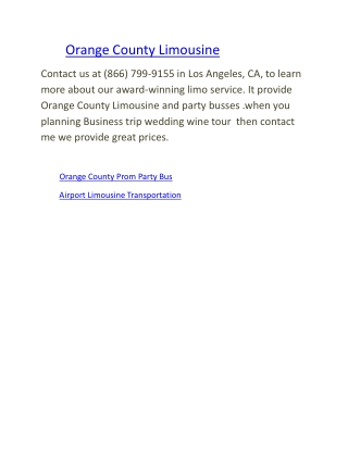 Limo Service | Orange County Limousine | Airport Limousine T