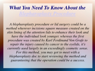 What You Need To Know About the Blepharoplasty Procedure