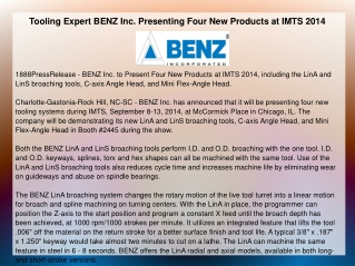 Tooling Expert BENZ Inc. Presenting Four