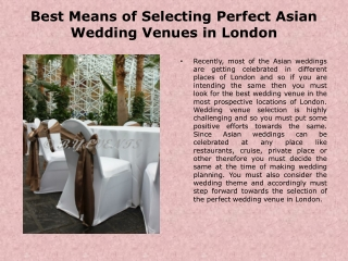 Asian Wedding Venues London