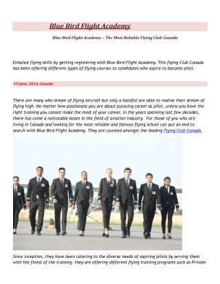 Blue Bird Flight Academy - Best Flying Club Canada,commercia