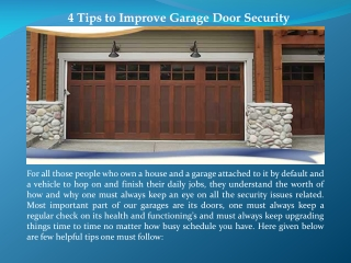 4 Tips to Improve Garage Door Security