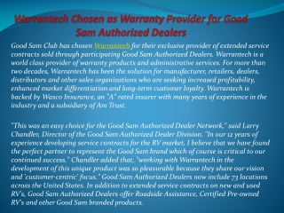 Warrantech Chosen as Warranty Provider for Good Sam Authoriz