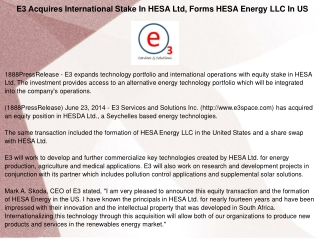 E3 Acquires International Stake In HESA Ltd, Forms HESA