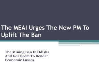 The MEAI Urges The New PM To Uplift The Ban