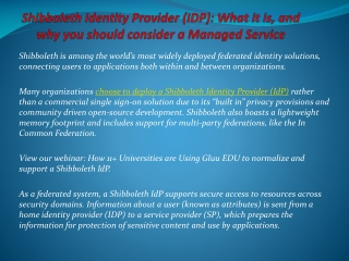 Shibboleth Identity Provider (IdP): What it is, and why you