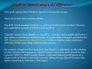 OAuth vs. OpenID � What�s the difference