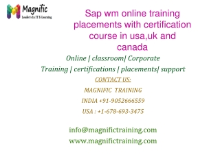 Sap wm online training placements with certification course