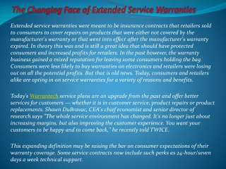 The Changing Face Of Extended Service Warranties