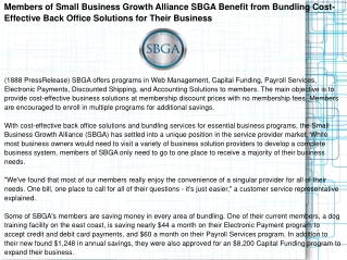 Members of Small Business Growth Alliance SBGA