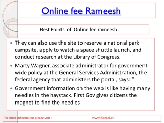 How to implement online fee rameesh
