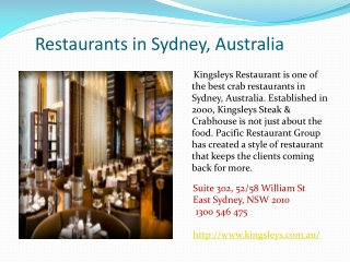 Restaurants in Sydney, Australia