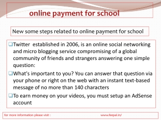The option for online payment for school