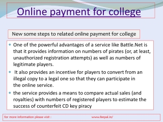 The benefit of online payment for college
