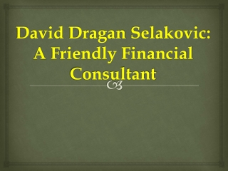 David Dragan Selakovic: A Friendly Financial Consultant