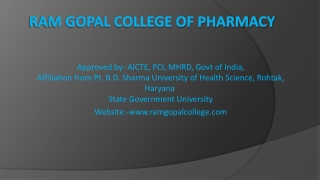 Admission for B. Pharmacy college in Guraon � Ramgopalcolleg