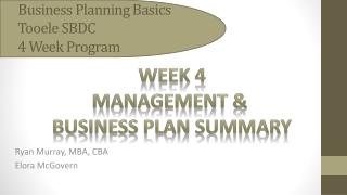 Business Planning Basics Tooele SBDC 4 Week Program