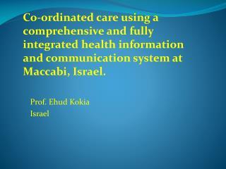 Prof. Ehud Kokia Israel