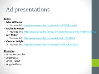 Ad presentations