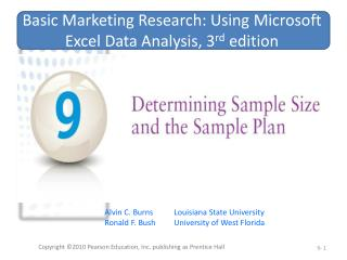 Basic Marketing Research: Using Microsoft Excel Data Analysis, 3 rd  edition