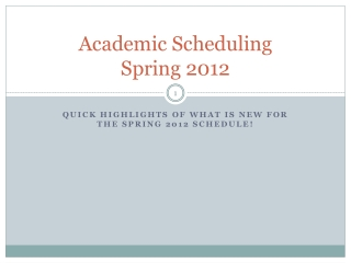 Academic Scheduling  Spring 2012