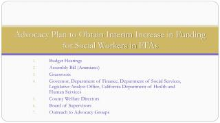 Advocacy Plan to  Obtain Interim  Increase in Funding for Social Workers in  FFAs