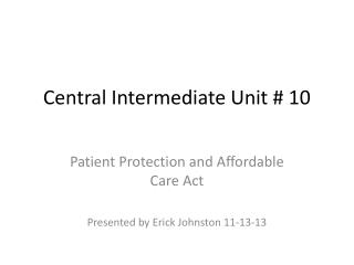 Central Intermediate Unit # 10