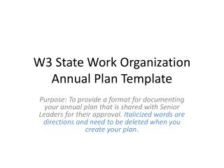 W3 State Work Organization Annual Plan Template