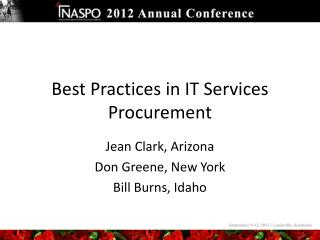 Best Practices in IT Services Procurement