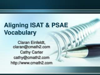 aligning isat  psae vocabulary