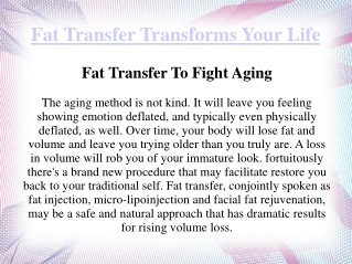 Fat Transfer Transforms Your Life