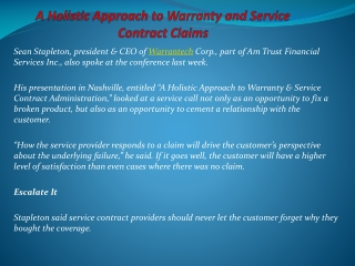 A Holistic Approach To Warranty And Service Contract Claims